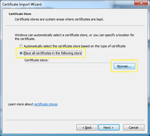 Certificate Import - Certificate Select