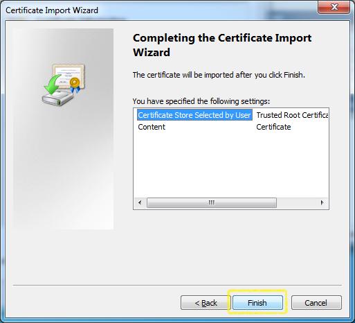 Certificate Import - Certificate - Finish