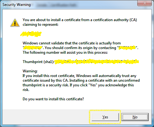 Certificate Import - Security Warning