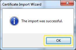 Certificate Import - Success
