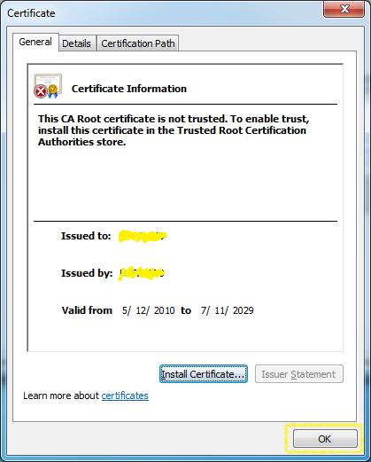 Certificate Import - OK