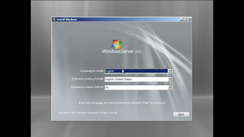 Language time and currency screen during windows server 2008 installation