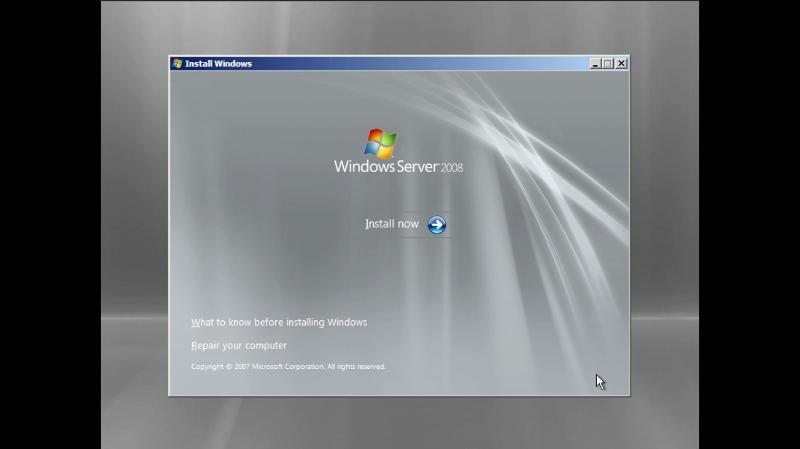 Install Now screen on windows server 2008