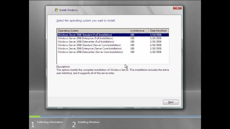 operating system selection screen on windows server 2008 installtion