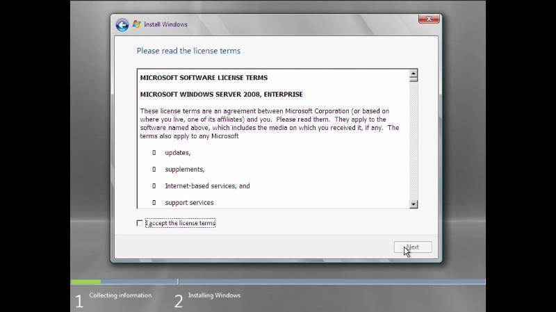 Windows Server 2008 licence screen