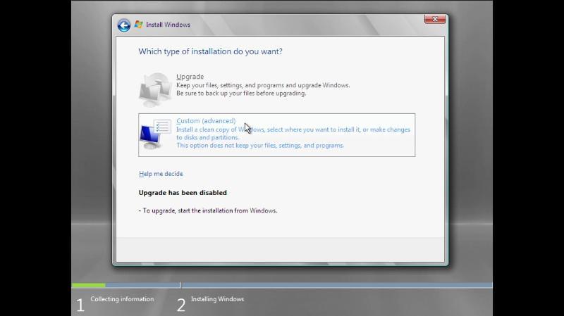 Upgrade or Custom installation screen during Windows server 2008 installtion