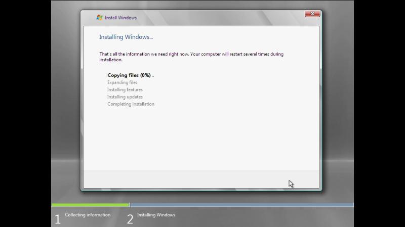 Installing Windows Server 2008 screen