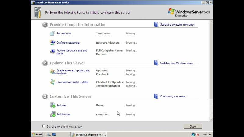 Initial configuration tasks windows server 2008