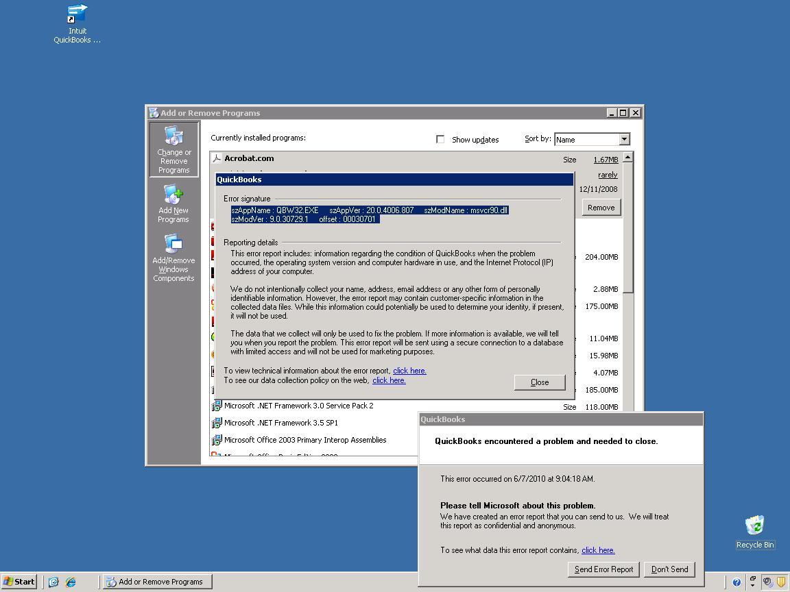 Quickbooks EVentID 4 - An unexpected error has occured in