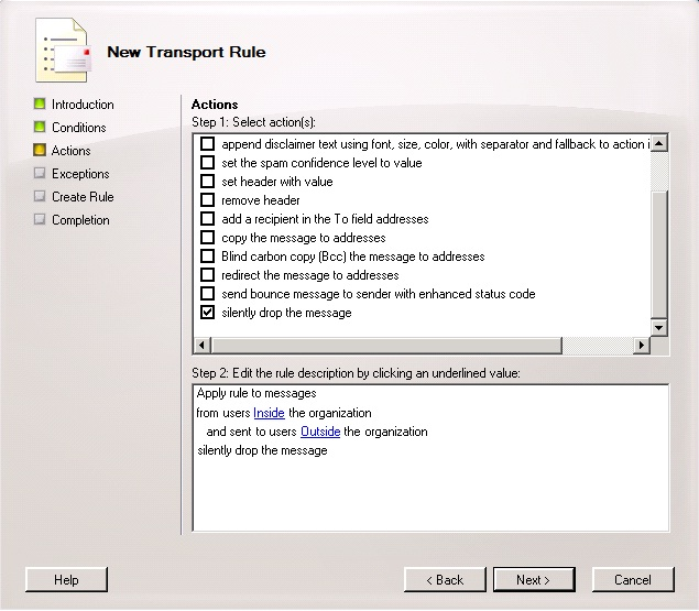 Prevent users sending external e-mails with Transport Rules