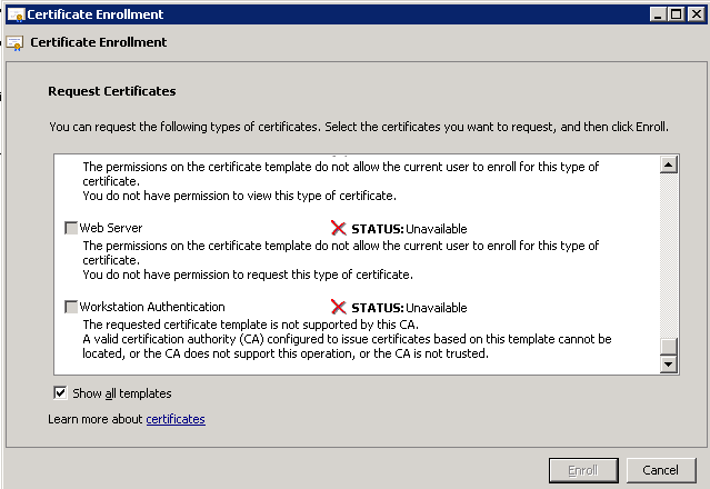You do not have permission to request this type of certificate cert errorg yelopaper