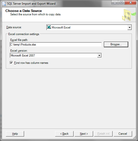 SQL Server Import and Export Wizard - Choose a Data Source