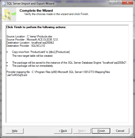 SQL Server Import and Export Wizard - Complete the Wizard