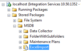 The ExcelImport SSIS package, stored in MSDB