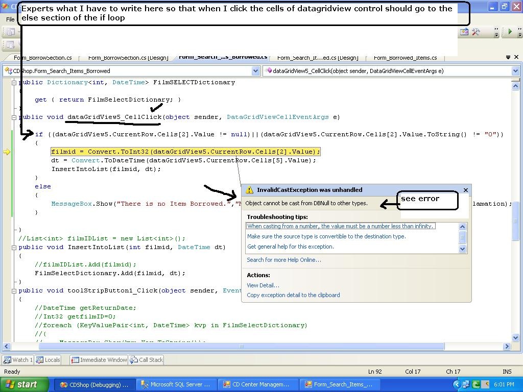 datagridview cell click of null value