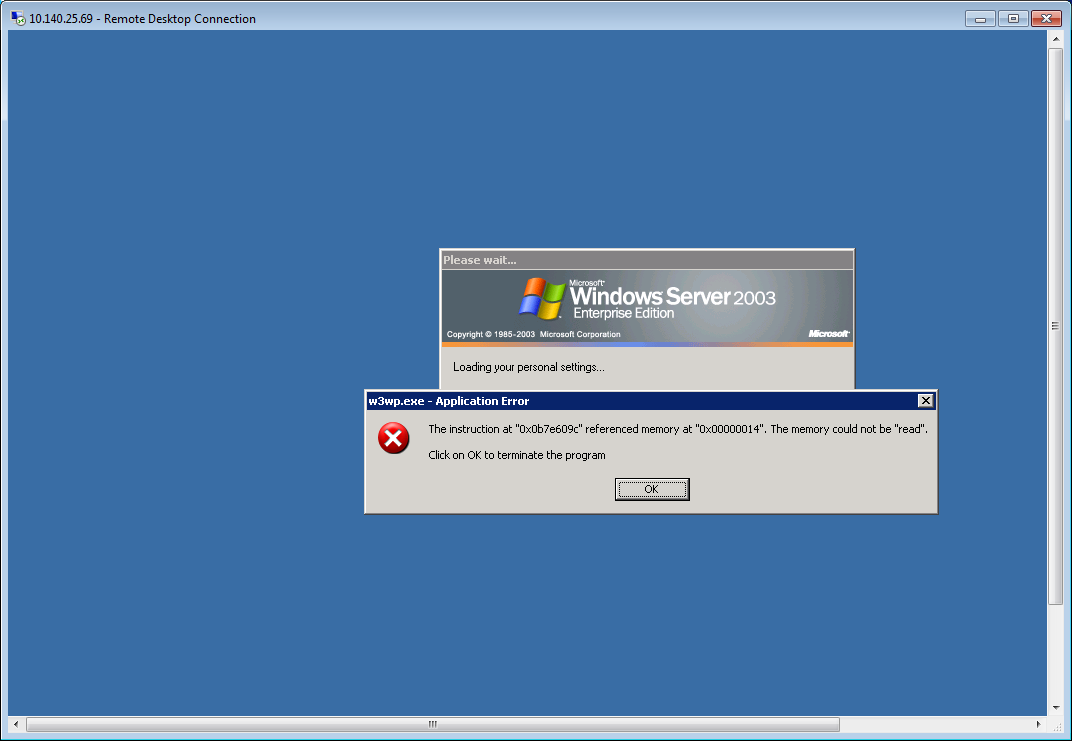 W3wpexe Appication Error Memory Windows Server 2003
