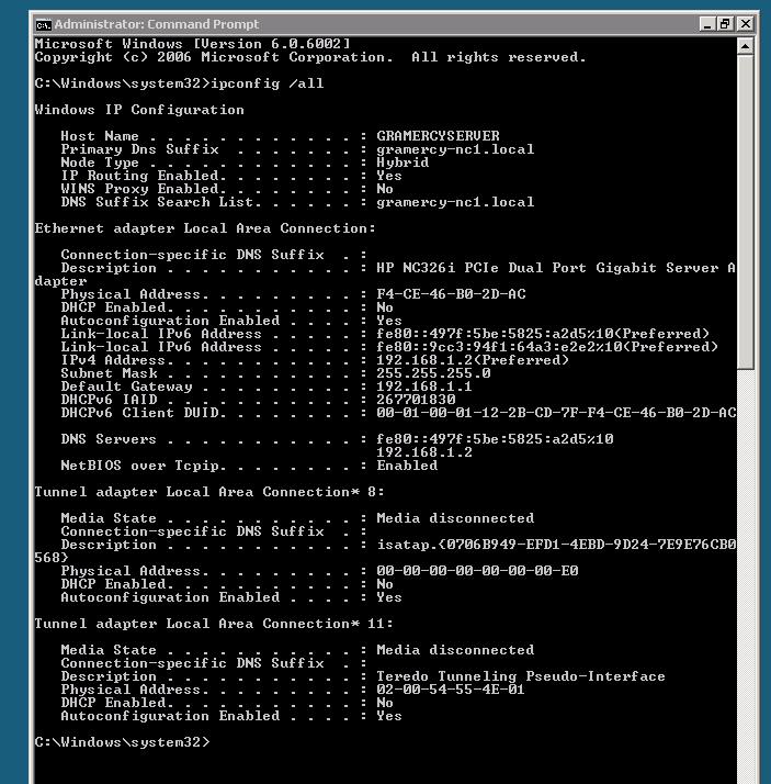 ipconfig /all  on server