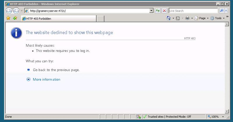 When trying to open Sharepoint 3.0 Central Administration