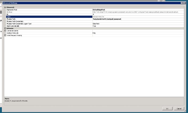 Adv settings for default website