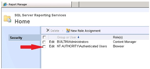 Add Authenticated Users to root folder in Report Manager