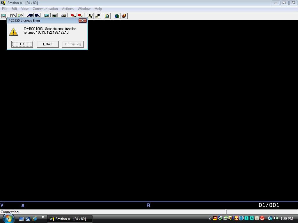 pc5250 license error cwbco1003 - sockets error, function returned 10013