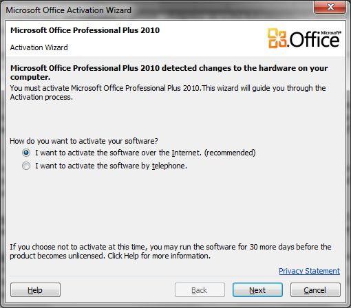 Office 2010 Activation Wizard Prompts Over and Over