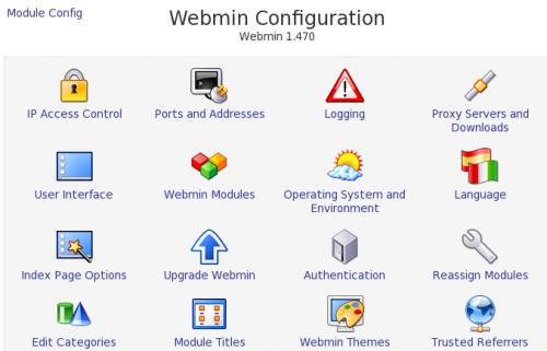 webmin configuration page