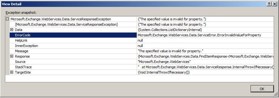 How do you get an email from Exchange Server using EWS with search