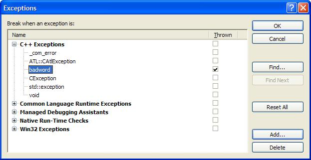 Choose User Defined Exception