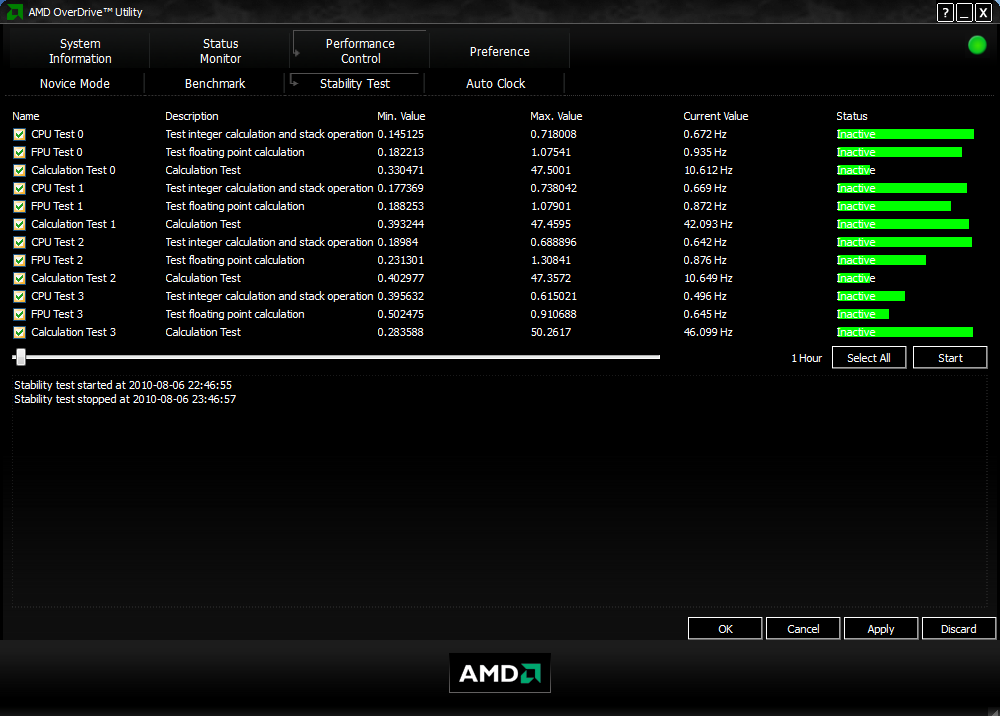 AMD OverDrive Stability Test