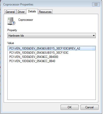 nvidia drivers coprocessor windows 7