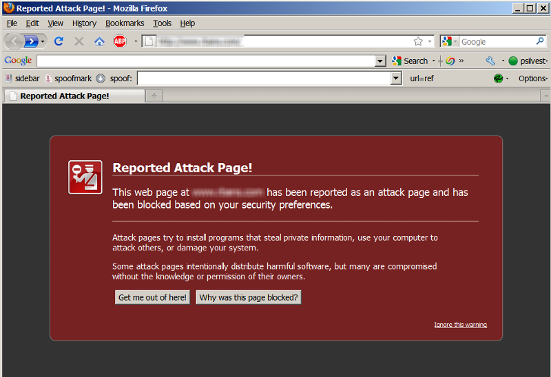 Warning of a Hacked Website