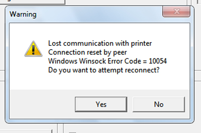 Printing problem (winsock error 10054)
