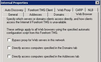 Internal network properties