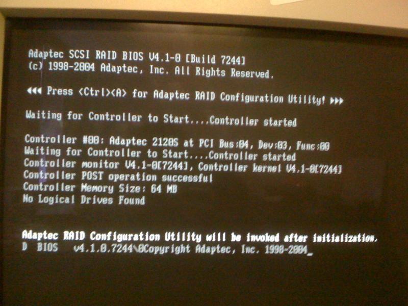 figure 2:a single new SCSI hard drive in the RAID controller