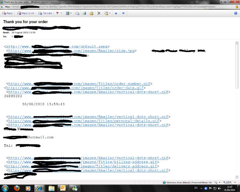 broken HTML Email