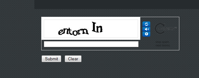 screen shot of Captcha