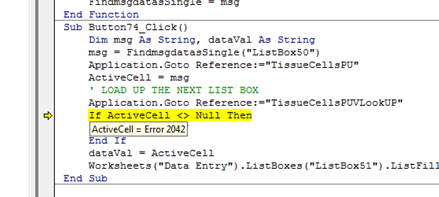 Excel And Error 2042 And Testing For This Value