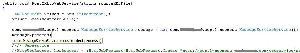 C# code to send an XML to a webservice
