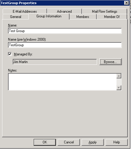 Exchange 2007 Group Information tab