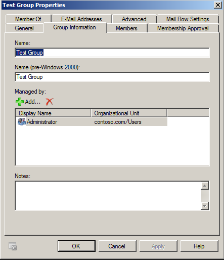 Exchange 2010 Group Information tab