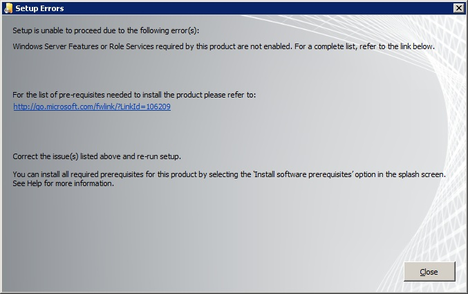 Error message when installating Sharepoint 2010
