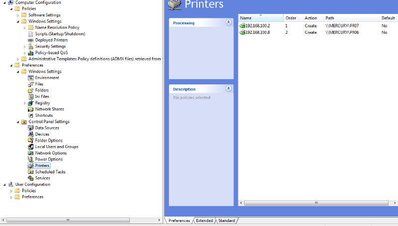 Deployed Printer Windows Computer Settings