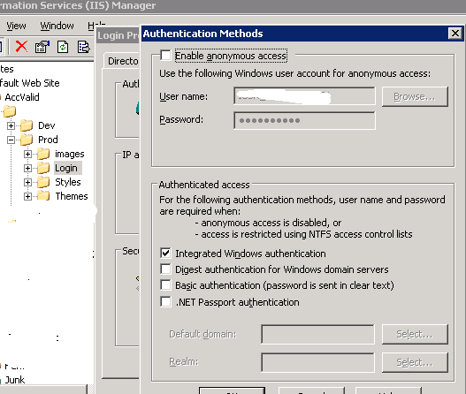 How I set up IIS directory security under w2003