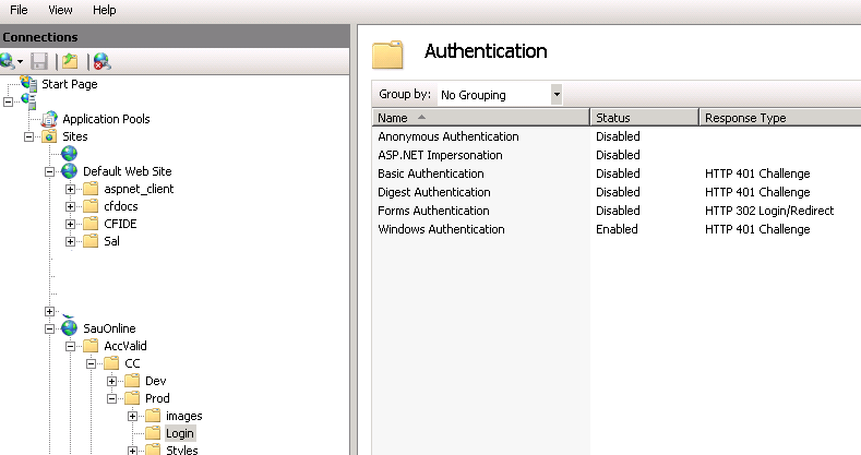 IIS directory authentication under w2008