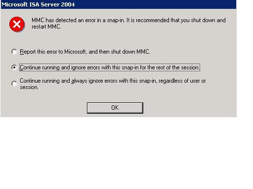 ISA 2004 MMC error