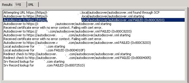 Autodiscover errors