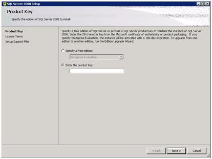 SQL Server 2008 Setup - Product Key