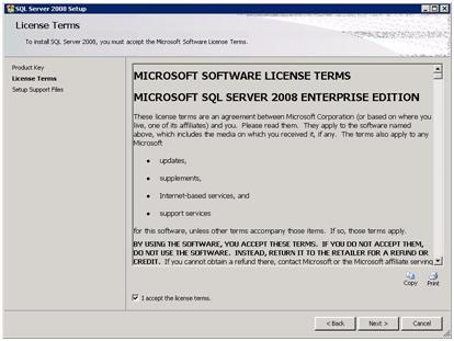 SQL Server 2008 Setup - License