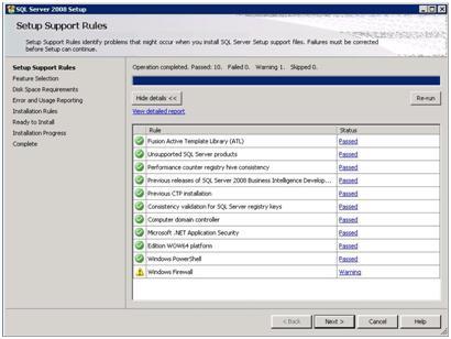 SQL Server 2008 Setup - Support Rules